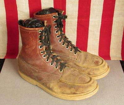 Vintage 1970s Brown Leather Work Boots Moc Toe Size 9.5 Industrial Motorcycle