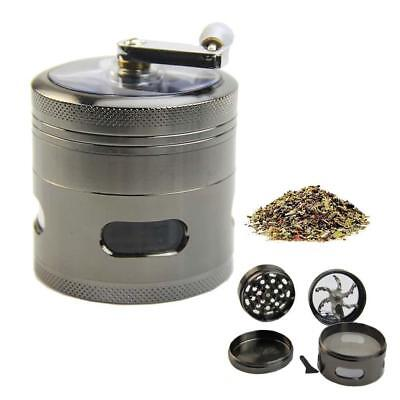 4 Layer Handle Mill Grinder Herb Tobacco Spice Crusher Aluminum Metal Storage ZH