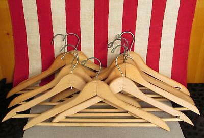 Vintage Antique Wooden Clothing Hangers Clothiers Group of 10 For Your Store