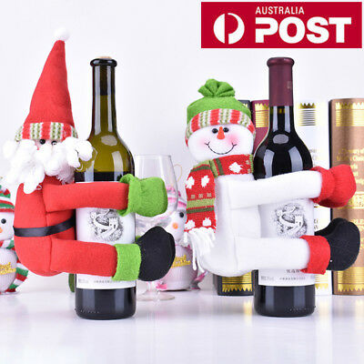 Red Wine Bottle Cover Bags Hug Santa Claus Snowman Dinner Table Decoration Xmas