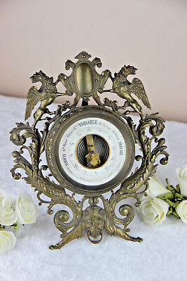 Antique French bronze brass Dragons gothic lion head barometer 1900 Rare