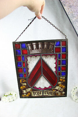 Old Flemish stained glass window symbol escutcheon city of Kortrijk