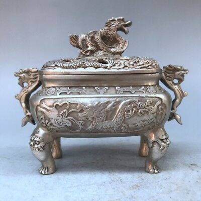 Collect China carving Dragon Tibet silver Incense burner xuande mark.  g161