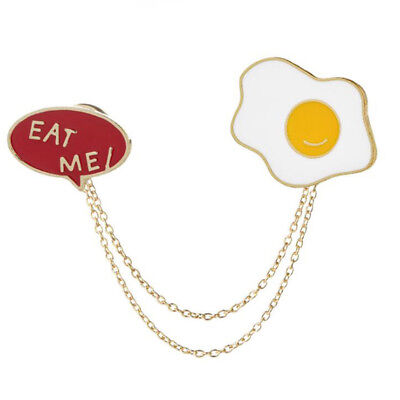 Omelette Eat Me Letter Enamel Brooches Shirt Collar Metal Chain Brooch Pin one