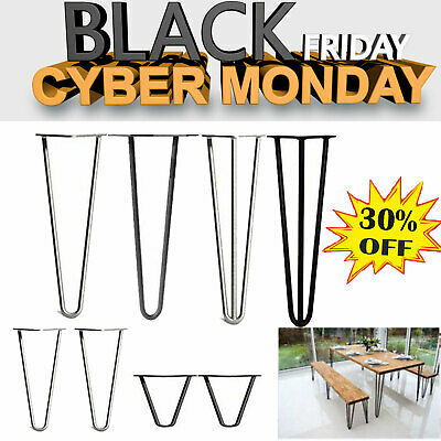 """4X Hairpin Table Legs Bench Desk Clear Coated 8""""-34"""" 12mm Industrial Retro Metal"""