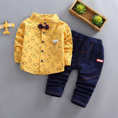 2PCS/Set 0-5T Toddler Kids Baby Boys Warm Shirt Tops+Long Pants Clothes Outfits