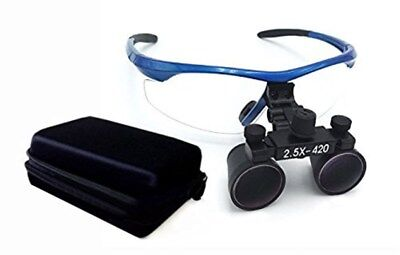 Dental Loupes 2.5X Surgical Binocular Loupes Magnifier Blue with Case UK STOCK
