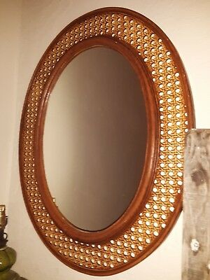 Vintage Faux Wicker And Wood Mirror By Dart Ind.