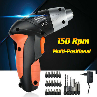 24PC 4.8V Electric Rechargeable Cordless Screwdriver Drill Bits Kit + EU Charger