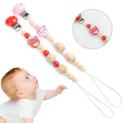 Cute Clips Bear Wood Bead Pacifier Chain Baby Infant Boys Girls Soother Clip