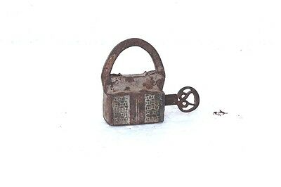 1900's Old Vintage Antique Rare Iron Brass Lock and Key Collectible PB-97