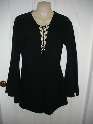 Rochelle Humes Black Gold Lace Up Bell Sleeve Evening Club Playsuit Size 8