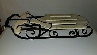White Wooden & Metal Sled Christmas Holiday Decor Wall Hanging Winter Decoration
