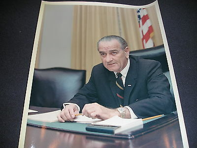 White House President  Lyndon Johnson Picture stamped oval office