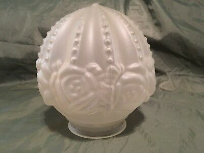 VTG Victorian Rose Frosted Glass Ceiling Light Fixture Shade
