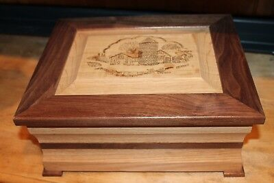Hand Crafted Wooden Keepsake Box with Wood Burning Oak Maple Unique Made in USA