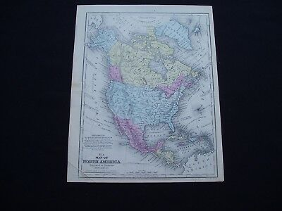 1858 Mitchell Atlas Map North America United States Canada Genuine Antique