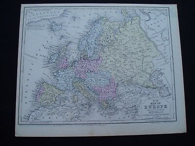 1858 Mitchell Atlas Map South America Europe Genuine Antique
