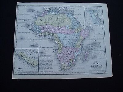 1858 Mitchell Atlas Map Africa Australia Hawaii Pacific Islands Genuine Antique