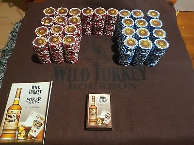 Wild Turkey poker chips & wild turkey mat with deck of playing cards & Booklet