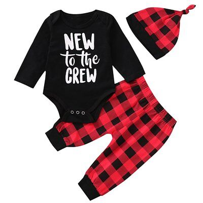 Newborn Infant Baby Boys Girls Xmas Romper Plaid Pants Hat 3pcs Clothes Outfits