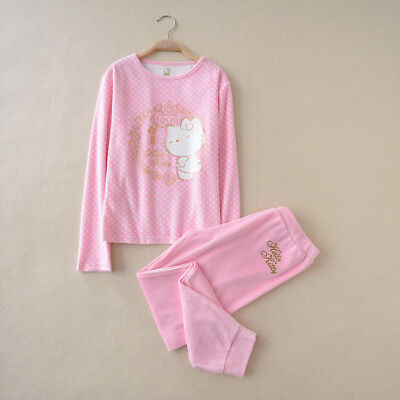 Girls Hello Kitty Cotton Fleece Velvet Pjs Pajamas Sleepwear sets size Year 8-14