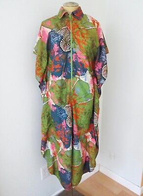 2bf2f81ad4c VGC Vtg 70s Mod Pink Green Psychedelic Big Floral Silky Poly Caftan Dress  Robe M