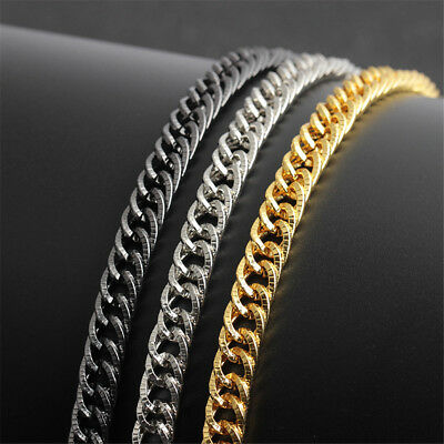 Heavy Stainless Steel Square Curb Wheat Chain Link Bracelet Men Bangle Jewelry