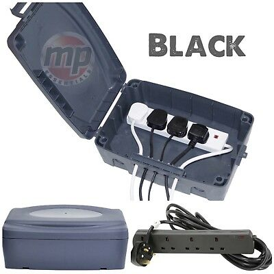Outdoor Waterproof Masterplug Electrical Connection Box & Black 4 Extension Lead