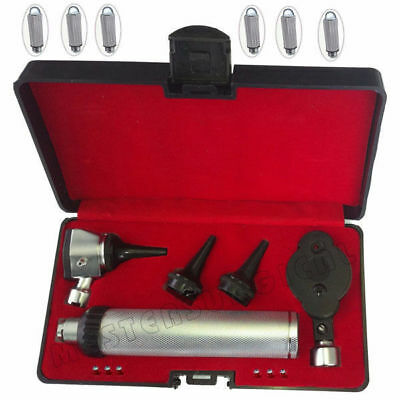 Otoscope & Ophthalmoscope Set ENT Medical Diagnostic Surgical Instruments 6 Bulb