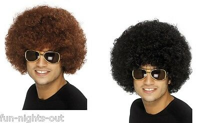 High Quality 70's Disco Afro Curly Wig Fancy Dress Clown Black or Brown Funky