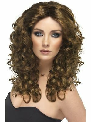 Ladies Girls Brown Wonder Woman Wig 80s Glamour Fancy Dress Outfit Fun Accessory