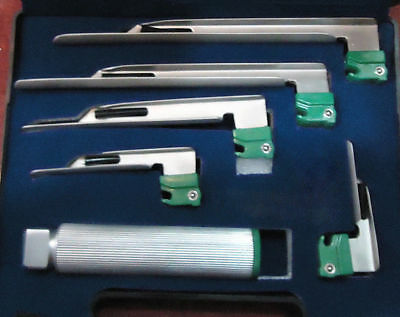 Fiber Optic Miller Laryngoscope Intubation Set Of 5 Blades, One Handle