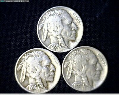 1935 P,D&S Buffalo Nickels Circulated #Z22