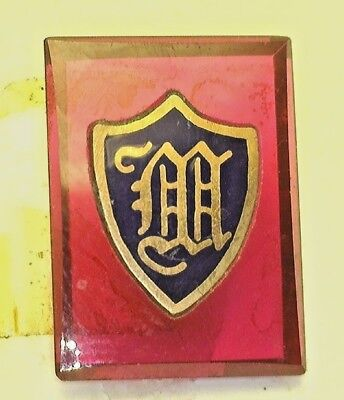 """NOS Antique Vintage Deco Red  Rectangle Stone w/ Initial """" M """" Old English  #B6"""