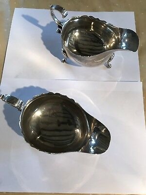 Pair Of Solid Sterling Silver Custard Sauce Boats Birmingham 1910 290g