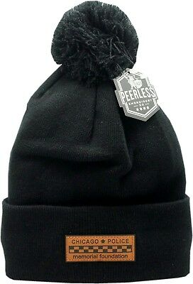 CPD Memorial Cuffed Pom Knit Bar Patch Leather Black