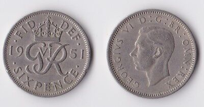 1951 Great Britain sixpence coin