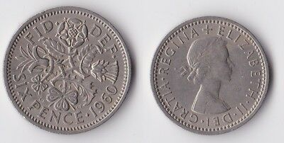 1960 Great Britain sixpence coin