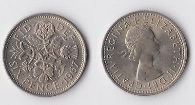 1967 Great Britain sixpence coin