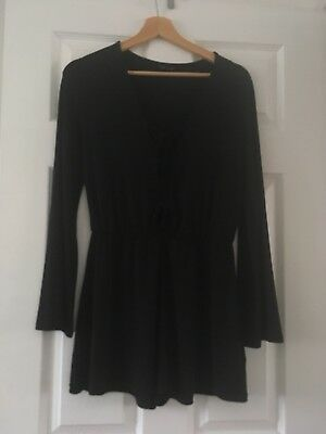 Womens Long Bell Sleeve Topshop Black Size 10 Playsuit Tie Lace Front VGC