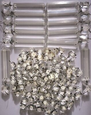 105 Antique Small & 3 Medium Antique Faceted Crystal Drops & 12 Prisms w/Drops