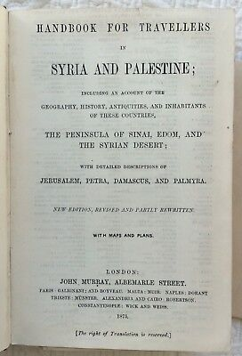 Murray's Handbook For Syria & Palestine by Porter 1875 Holy Land maps