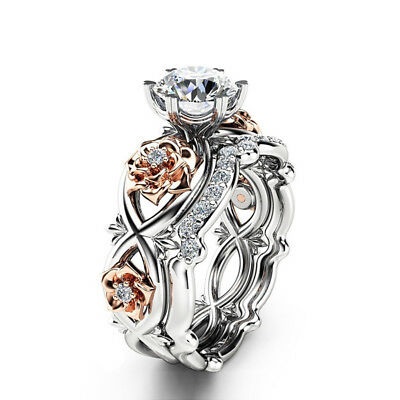 2Pcs/1Set Czech Stone Rose Flower Copper Silver Plated Ring Wedding Jewelry