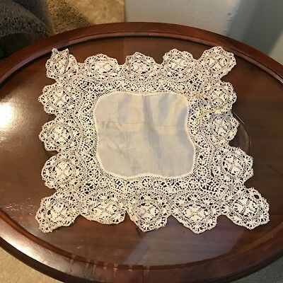 Antique Silk Victorian Maltese Lace Wedding Bridal Heirloom Hanky...Beautiful!