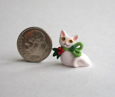 Handmade Miniature CUTE CHRISTMAS KITTEN CAT - OOAK C. Rohal