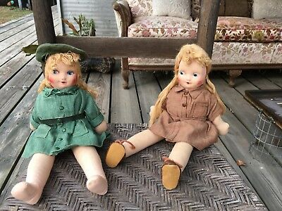 Vintage Girl Scout Dolls 1940s, Georgene Averill, cloth Brownie & Girl Scout