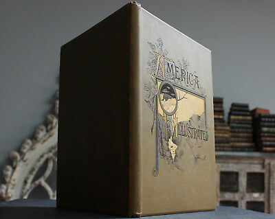 Antique Rare Old Book America Illustrated 1883 Nature Engravings Gilt Scarce
