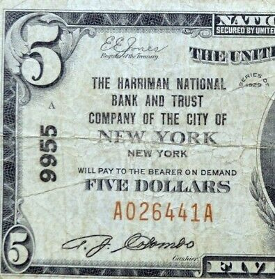 1929 $5 National Bank Note ✪ Harriman Nb&tc City Of New York ✪ Ny 9955 ◢Trusted◣