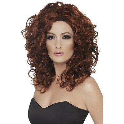 Womens Fantasy Wig Auburn Long Curly Music Fancy Dress Ginger Model Pin Up Sexy